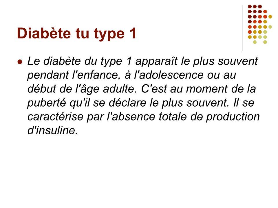 Diabète tu type 1 Le diabète du type 1 apparaît le plus souvent pendant l'enfance, à l'adolescence ou au début de l'âge adulte. C'est au moment de la