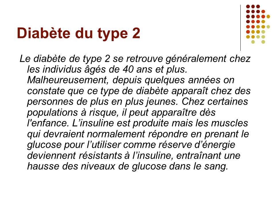 Diabète du type 2 Le diabète de type 2 se retrouve généralement chez les individus âgés de 40 ans et plus. Malheureusement, depuis quelques années on