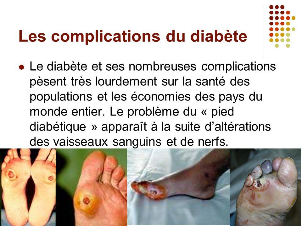 Les complications du diabète Le diabète et ses nombreuses complications pèsent très lourdement sur la santé des populations et les économies des pays