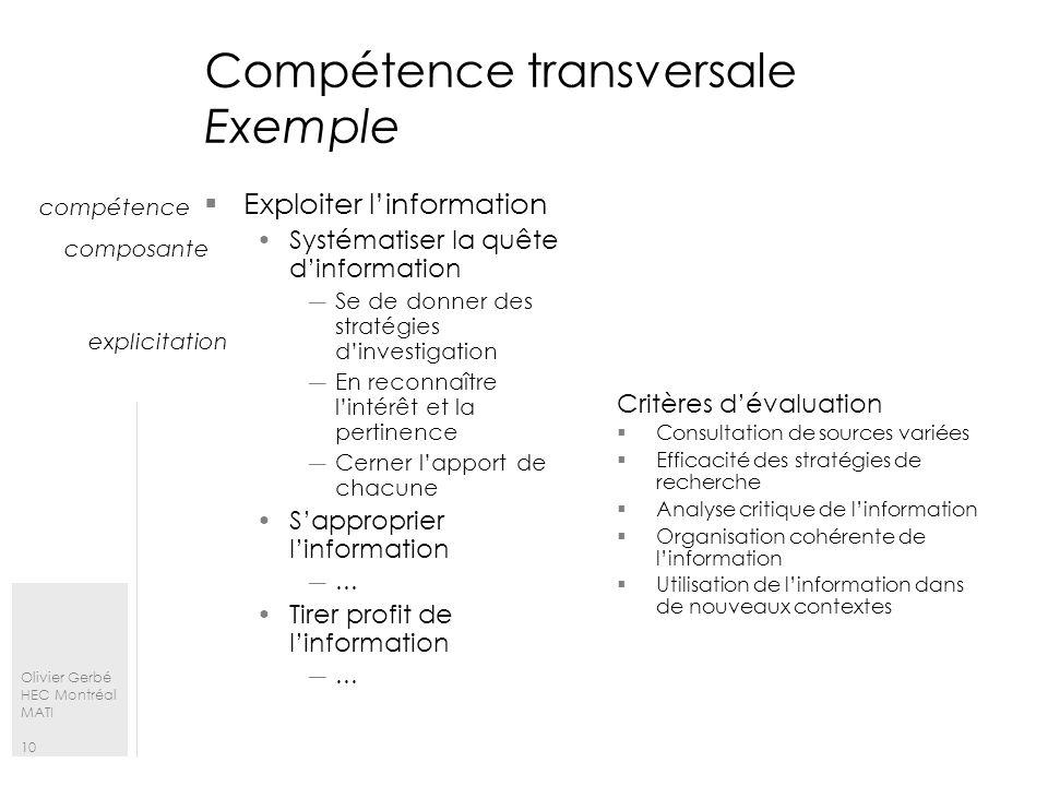 Olivier Gerbé HEC Montréal MATI 10 Compétence transversale Exemple Exploiter linformation Systématiser la quête dinformation Se de donner des stratégi