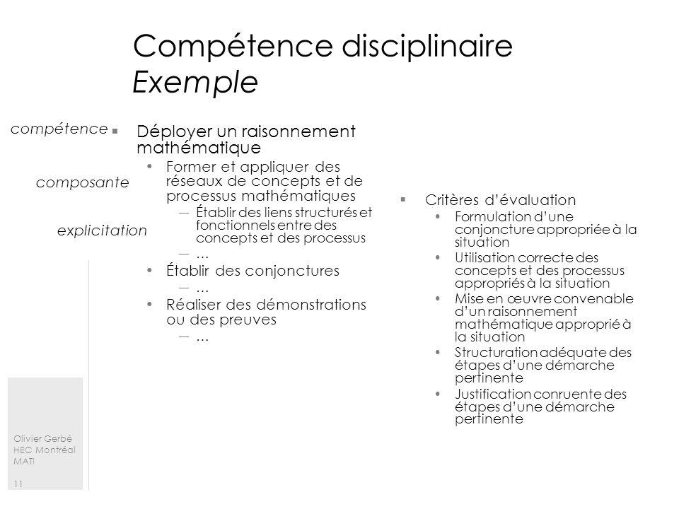 Olivier Gerbé HEC Montréal MATI 11 Compétence disciplinaire Exemple Déployer un raisonnement mathématique Former et appliquer des réseaux de concepts