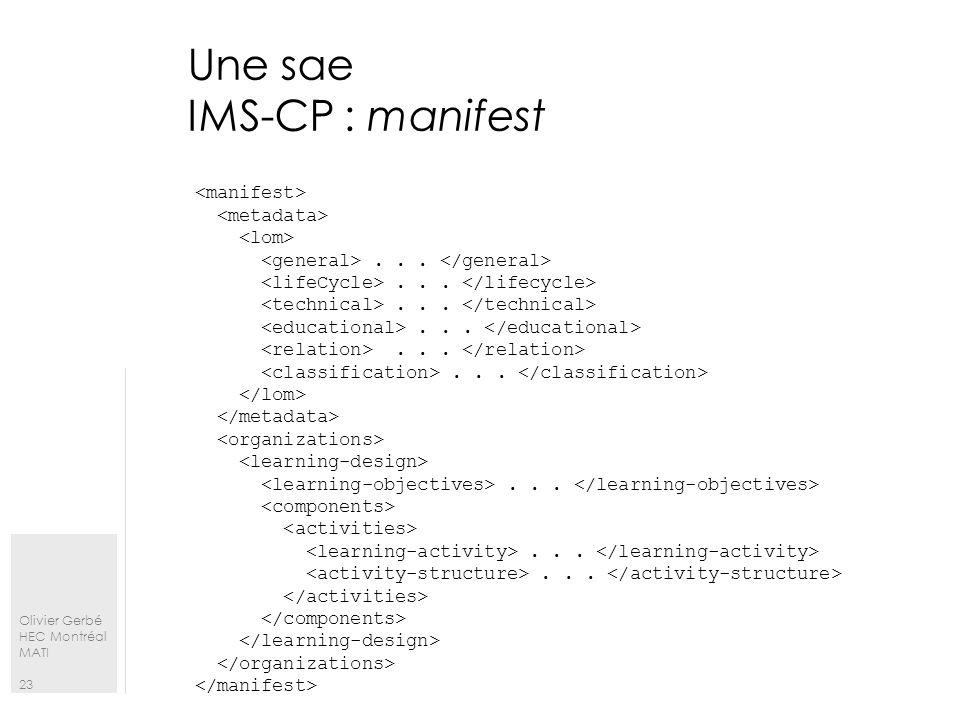 Olivier Gerbé HEC Montréal MATI 23 Une sae IMS-CP : manifest.........