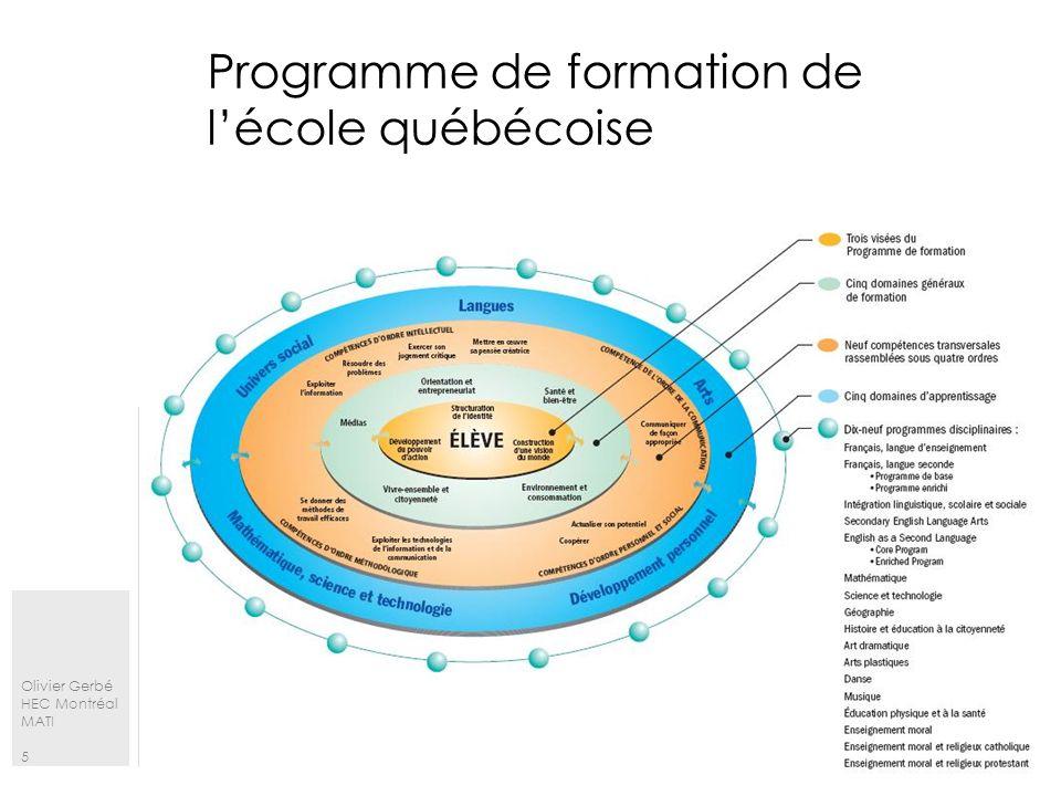 Olivier Gerbé HEC Montréal MATI 6 Les domaines généraux de formation Domaine général de formation (DGF) lien entre les apprentissages scolaires et les situations de la vie quotidienne.