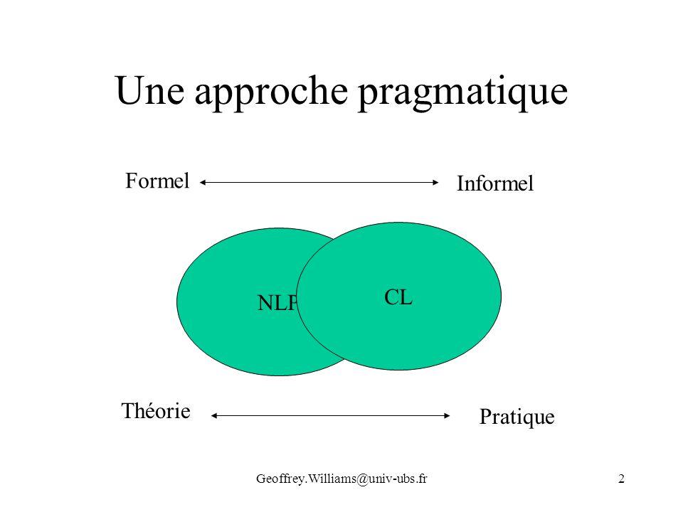 Geoffrey.Williams@univ-ubs.fr2 Une approche pragmatique NLP CL Formel Informel Théorie Pratique