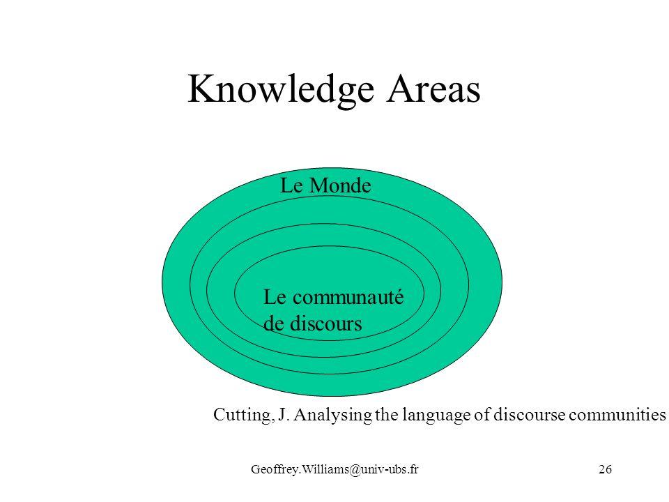 Geoffrey.Williams@univ-ubs.fr26 Knowledge Areas Le Monde Le communauté de discours Cutting, J. Analysing the language of discourse communities