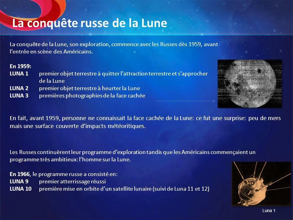 La conquête de la Lune, son exploration, commence avec les Russes dès 1959, avant lentrée en scène des Américains. En 1959: LUNA 1premier objet terres