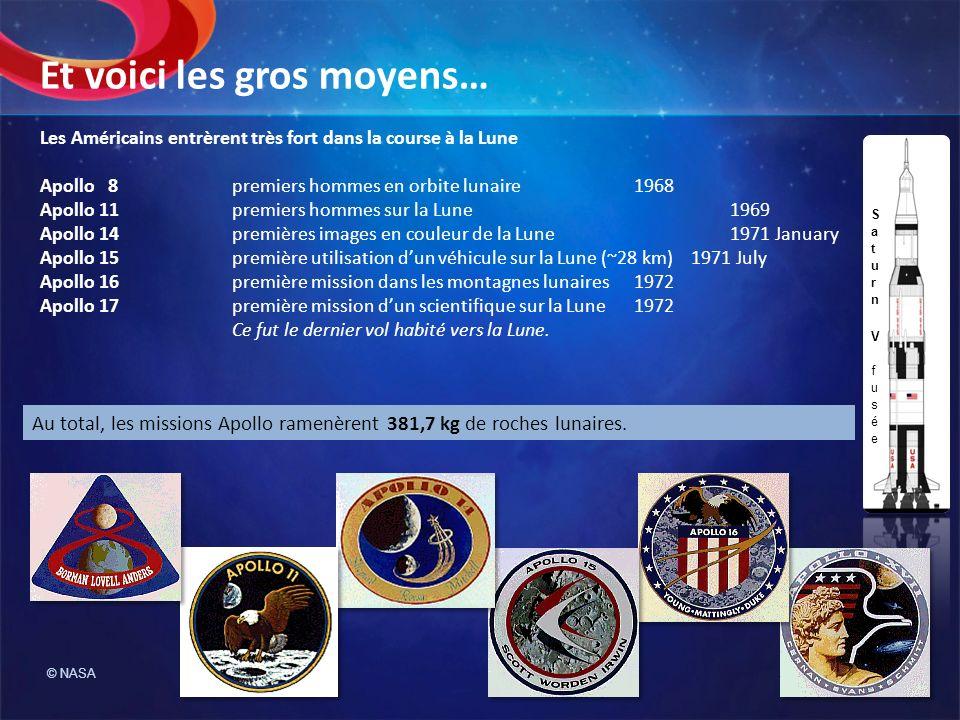 Les Américains entrèrent très fort dans la course à la Lune Apollo 8premiers hommes en orbite lunaire 1968 Apollo 11premiers hommes sur la Lune 1969 A