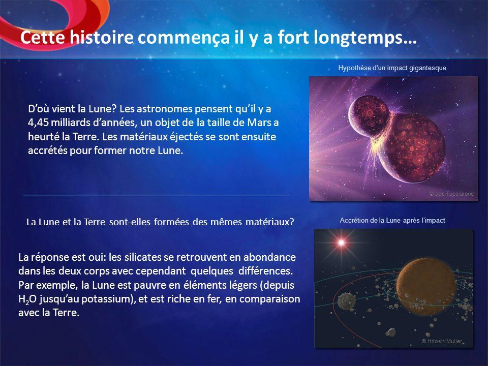 Doù vient la Lune? Les astronomes pensent quil y a 4,45 milliards dannées, un objet de la taille de Mars a heurté la Terre. Les matériaux éjectés se s