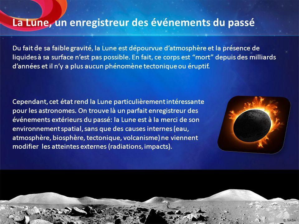 Du fait de sa faible gravité, la Lune est dépourvue datmosphère et la présence de liquides à sa surface nest pas possible. En fait, ce corps est mort