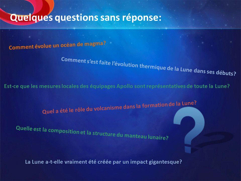 Quelques questions sans réponse: Comment évolue un océan de magma? Comment sest faite lévolution thermique de la Lune dans ses débuts? Quelle est la c