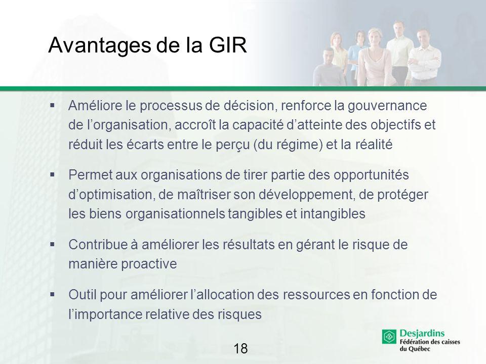 18 Avantages de la GIR Améliore le processus de décision, renforce la gouvernance de lorganisation, accroît la capacité datteinte des objectifs et réd