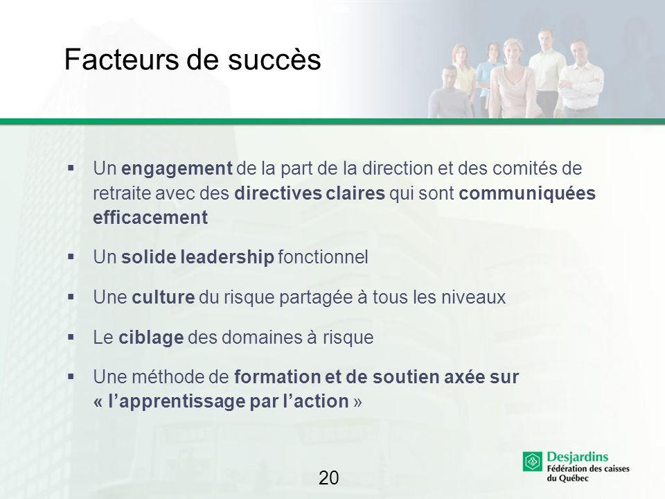 20 Facteurs de succès Un engagement de la part de la direction et des comités de retraite avec des directives claires qui sont communiquées efficaceme