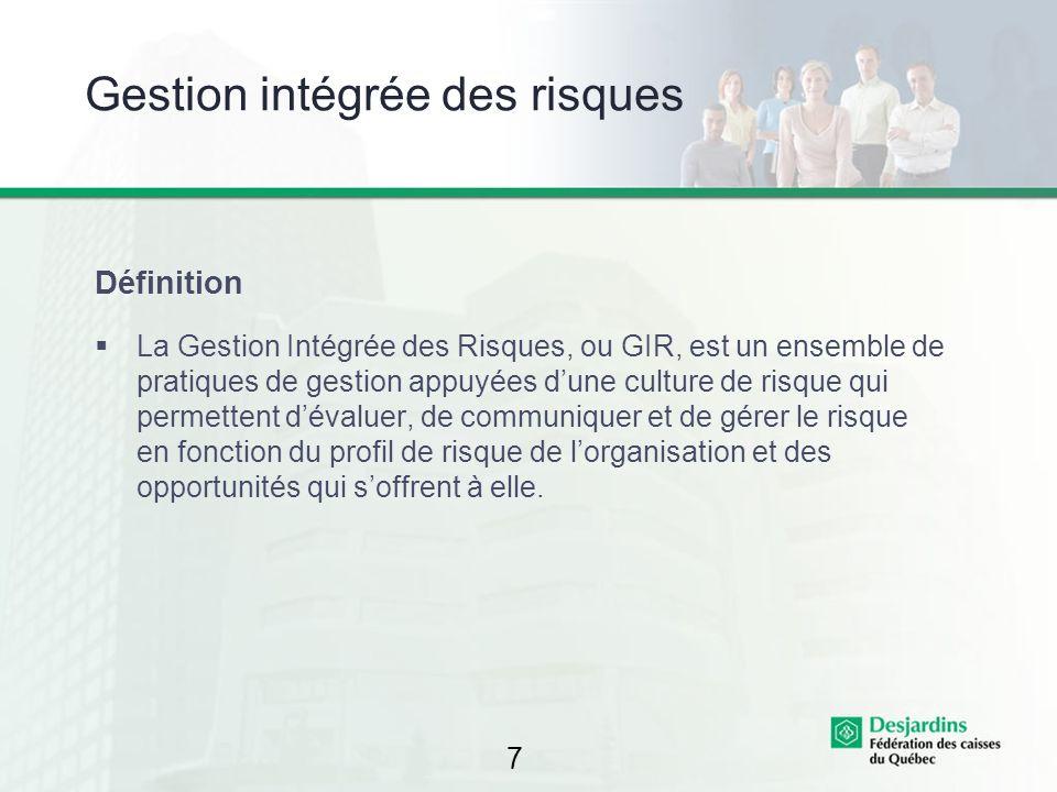 7 Gestion intégrée des risques Définition La Gestion Intégrée des Risques, ou GIR, est un ensemble de pratiques de gestion appuyées dune culture de ri