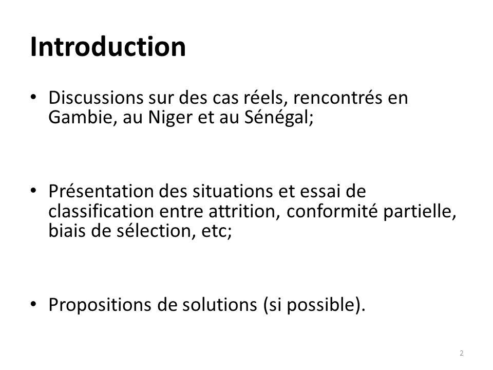 Introduction Discussions sur des cas réels, rencontrés en Gambie, au Niger et au Sénégal; Présentation des situations et essai de classification entre