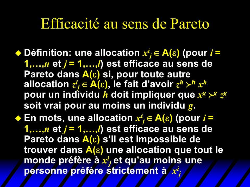 Efficacité au sens de Pareto Définition: une allocation x i j A( ) (pour i = 1,…, n et j = 1,…, l ) est efficace au sens de Pareto dans A( ) si, pour toute autre allocation z i j A( ), le fait davoir z h h x h pour un individu h doit impliquer que x g g z g soit vrai pour au moins un individu g.