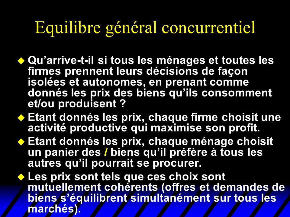 Equilibre général concurrentiel u Quarrive-t-il si tous les ménages et toutes les firmes prennent leurs décisions de façon isolées et autonomes, en prenant comme donnés les prix des biens quils consomment et/ou produisent .