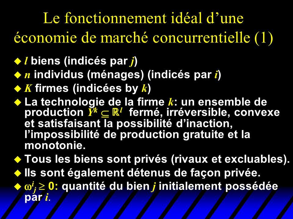 Le fonctionnement idéal dune économie de marché concurrentielle (1) l biens (indicés par j ) n individus (ménages) (indicés par i ) K firmes (indicées by k ) La technologie de la firme k : un ensemble de production Y k l fermé, irréversible, convexe et satisfaisant la possibilité dinaction, limpossibilité de production gratuite et la monotonie.