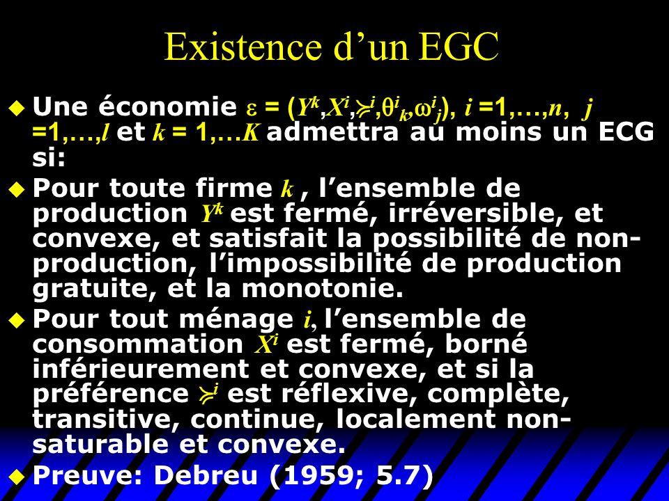 Existence dun EGC Une économie = ( Y k, X i, i, i k, i j ), i =1,…, n, j =1,…, l et k = 1,… K admettra au moins un ECG si: Pour toute firme k, lensemble de production Y k est fermé, irréversible, et convexe, et satisfait la possibilité de non- production, limpossibilité de production gratuite, et la monotonie.