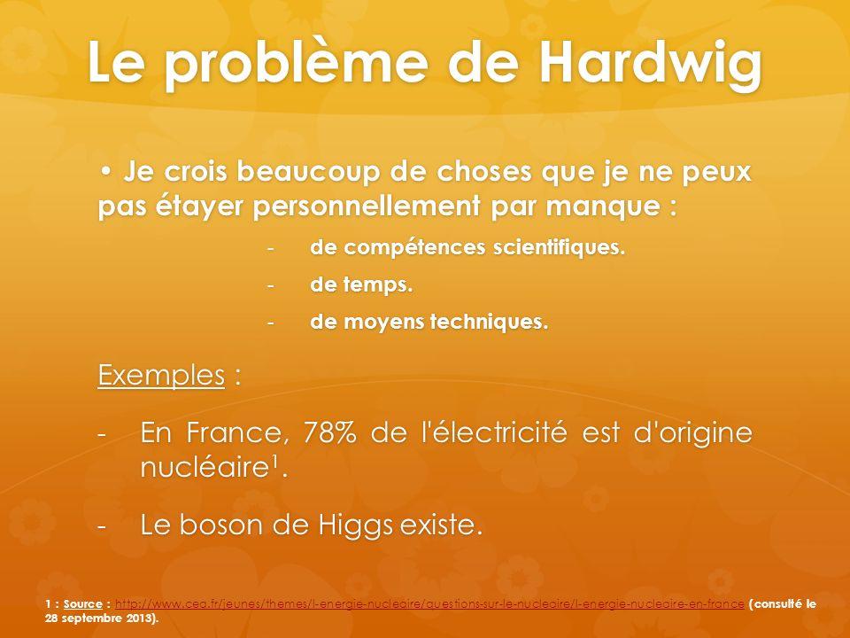 Le problème de Hardwig Je crois beaucoup de choses que je ne peux pas étayer personnellement par manque : Je crois beaucoup de choses que je ne peux pas étayer personnellement par manque : - de compétences scientifiques.