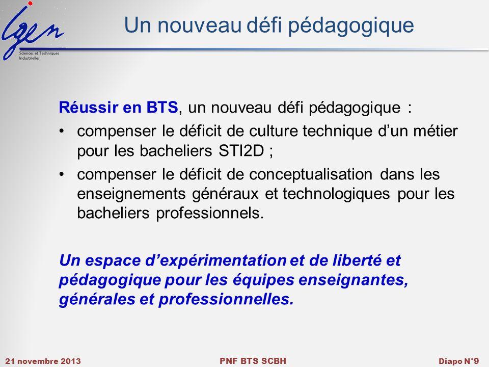 21 novembre 2013 PNF BTS SCBH Diapo N° 9 Un nouveau défi pédagogique Réussir en BTS, un nouveau défi pédagogique : compenser le déficit de culture tec