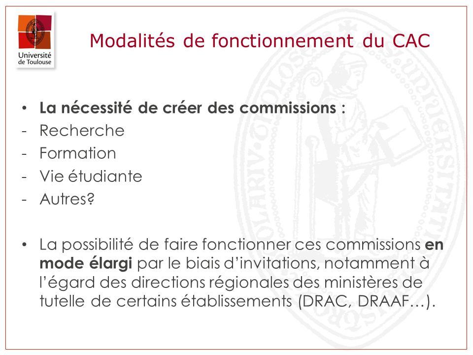 Modalités de fonctionnement du CAC La nécessité de créer des commissions : -Recherche -Formation -Vie étudiante -Autres? La possibilité de faire fonct