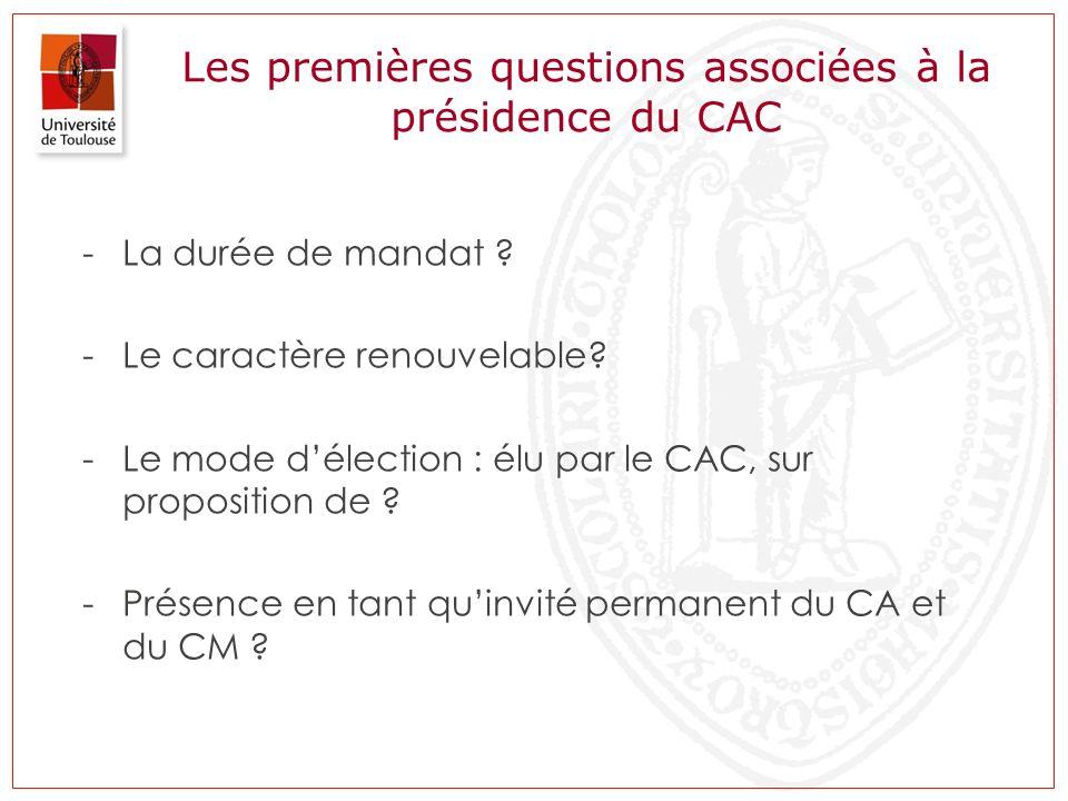 Les premières questions associées à la présidence du CAC -La durée de mandat ? -Le caractère renouvelable? -Le mode délection : élu par le CAC, sur pr