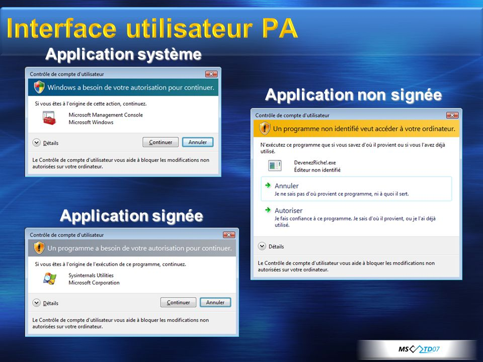 Application non signée Application signée Application système