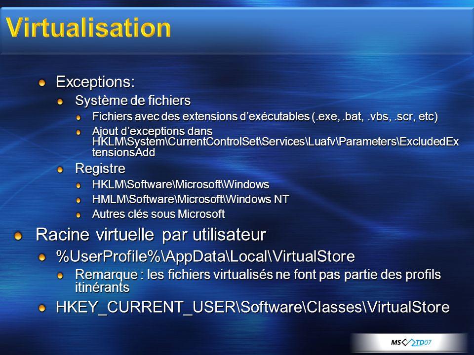Exceptions: Système de fichiers Fichiers avec des extensions dexécutables (.exe,.bat,.vbs,.scr, etc) Ajout dexceptions dans HKLM\System\CurrentControlSet\Services\Luafv\Parameters\ExcludedEx tensionsAdd RegistreHKLM\Software\Microsoft\Windows HMLM\Software\Microsoft\Windows NT Autres clés sous Microsoft Racine virtuelle par utilisateur %UserProfile%\AppData\Local\VirtualStore Remarque : les fichiers virtualisés ne font pas partie des profils itinérants HKEY_CURRENT_USER\Software\Classes\VirtualStore