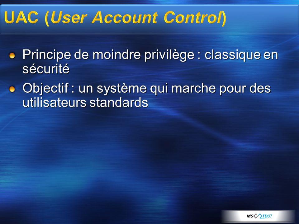 Principe de moindre privilège : classique en sécurité Objectif : un système qui marche pour des utilisateurs standards