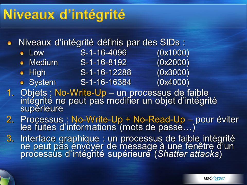Niveaux dintégrité définis par des SIDs : Low S-1-16-4096 (0x1000) MediumS-1-16-8192 (0x2000) HighS-1-16-12288 (0x3000) SystemS-1-16-16384 (0x4000) 1.Objets : No-Write-Up – un processus de faible intégrité ne peut pas modifier un objet dintégrité supérieure 2.Processus : No-Write-Up + No-Read-Up – pour éviter les fuites dinformations (mots de passe…) 3.Interface graphique : un processus de faible intégrité ne peut pas envoyer de message à une fenêtre dun processus dintégrité supérieure (Shatter attacks)