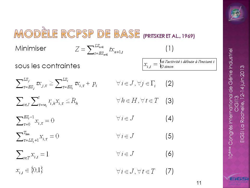 10 ème Congrès International de Génie Industriel CIGI13 EIGSI La Rochelle, 12-14 juin 2013 Minimiser (1) sous les contraintes (2) (3) (4) (5) (6) (7) 11
