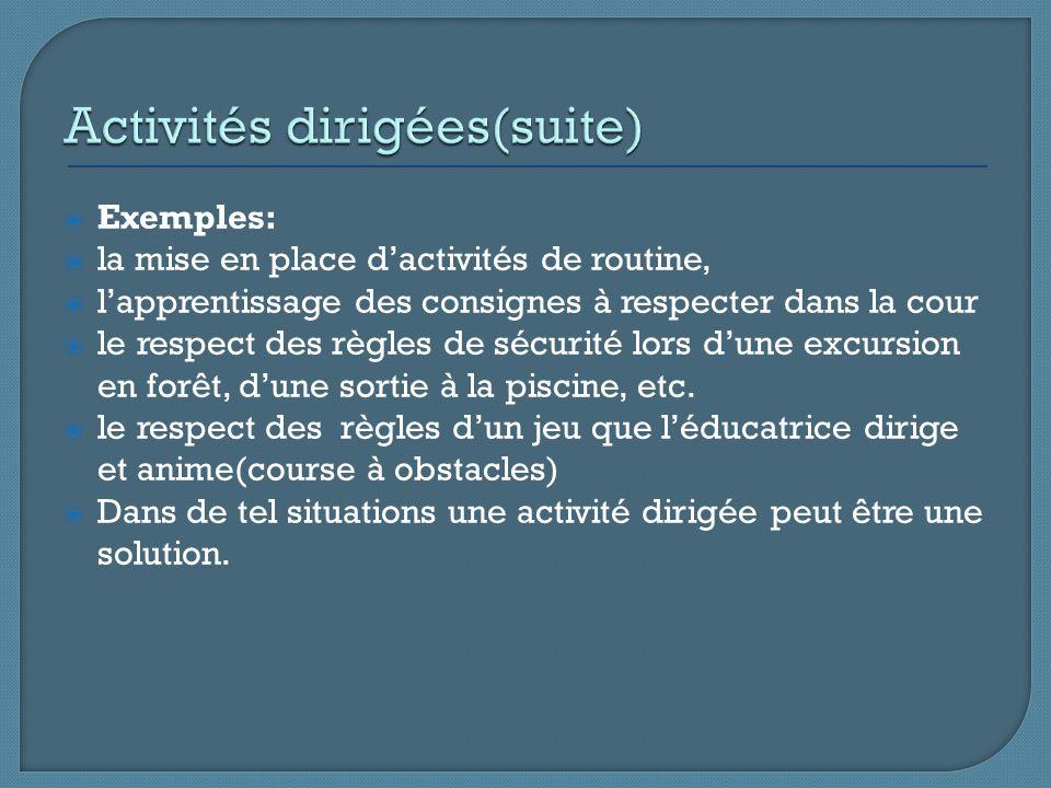 Exemples: la mise en place dactivités de routine, lapprentissage des consignes à respecter dans la cour le respect des règles de sécurité lors dune excursion en forêt, dune sortie à la piscine, etc.