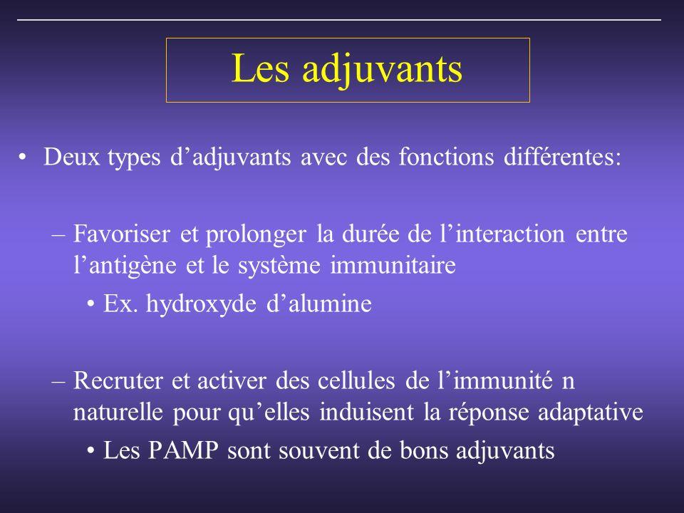 Les adjuvants Deux types dadjuvants avec des fonctions différentes: –Favoriser et prolonger la durée de linteraction entre lantigène et le système immunitaire Ex.