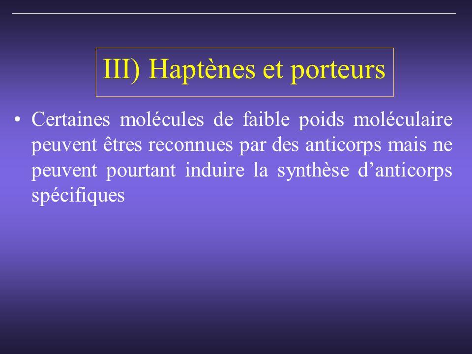III) Haptènes et porteurs Certaines molécules de faible poids moléculaire peuvent êtres reconnues par des anticorps mais ne peuvent pourtant induire la synthèse danticorps spécifiques