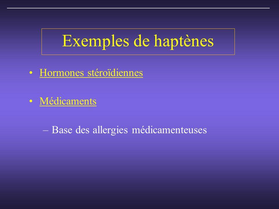 Exemples de haptènes Hormones stéroïdiennes Médicaments –Base des allergies médicamenteuses