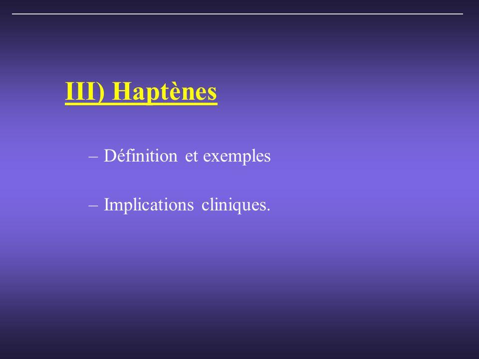 III) Haptènes –Définition et exemples –Implications cliniques.