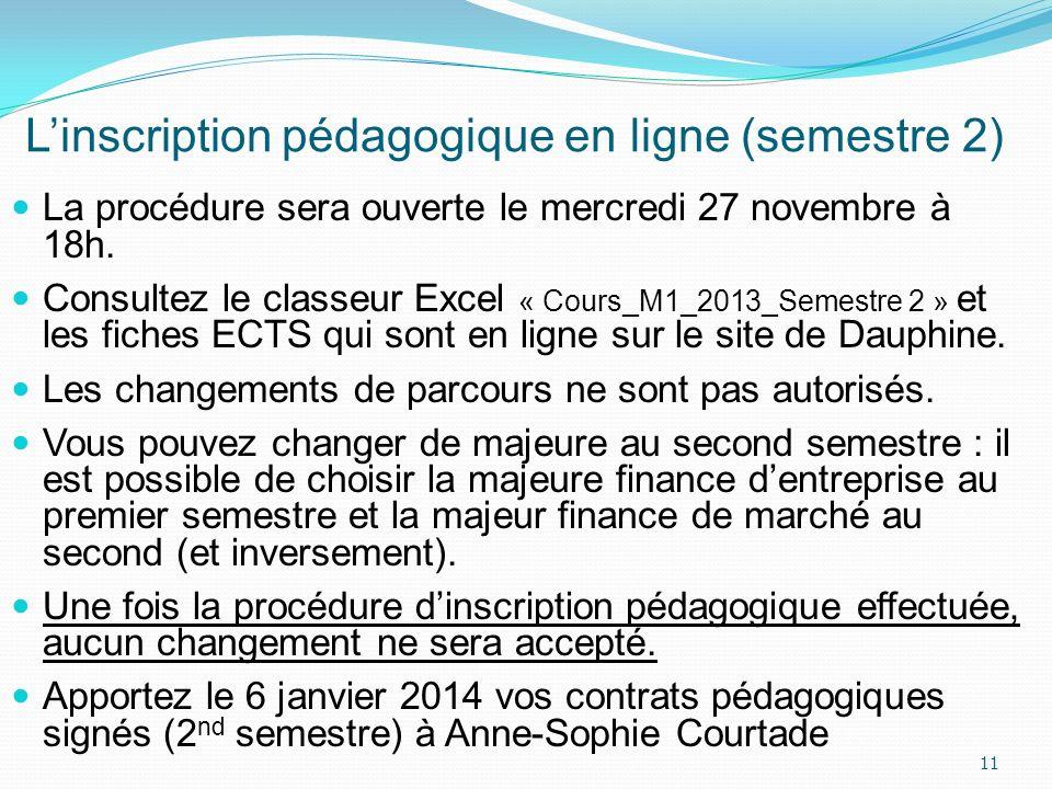 Linscription pédagogique en ligne (semestre 2) La procédure sera ouverte le mercredi 27 novembre à 18h. Consultez le classeur Excel « Cours_M1_2013_Se