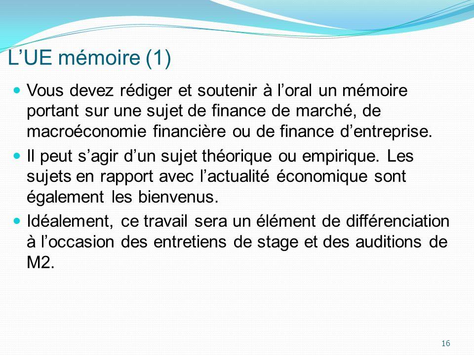 LUE mémoire (1) Vous devez rédiger et soutenir à loral un mémoire portant sur une sujet de finance de marché, de macroéconomie financière ou de financ