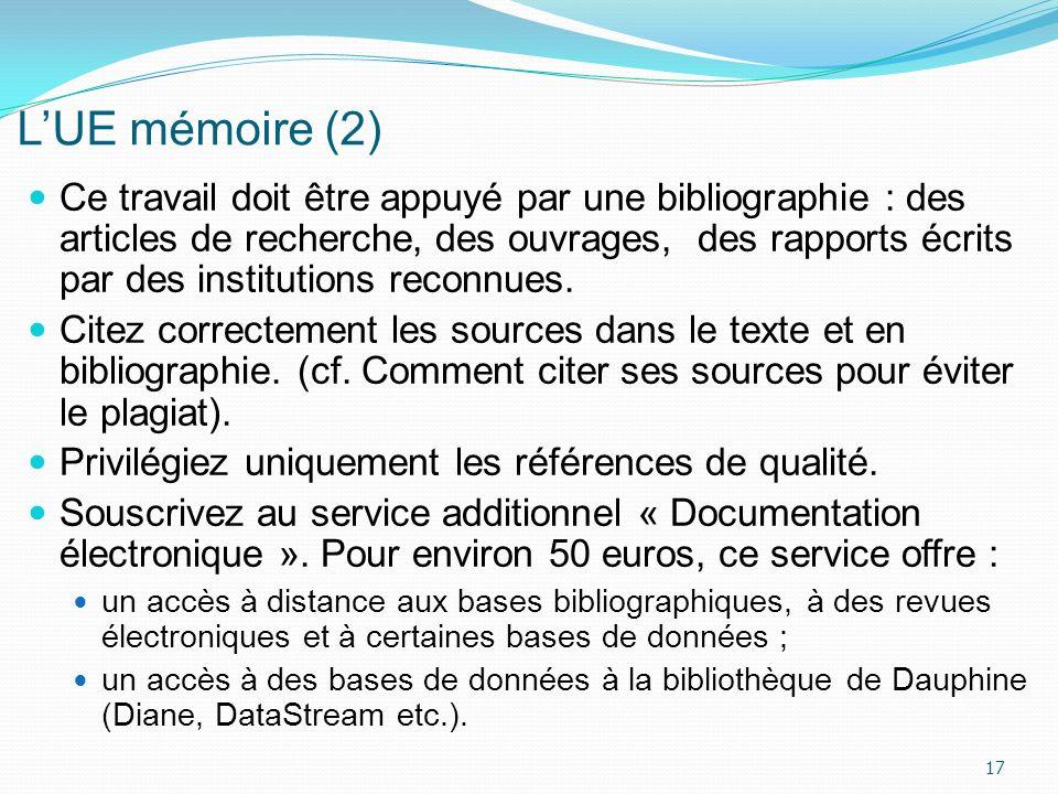 LUE mémoire (2) Ce travail doit être appuyé par une bibliographie : des articles de recherche, des ouvrages, des rapports écrits par des institutions