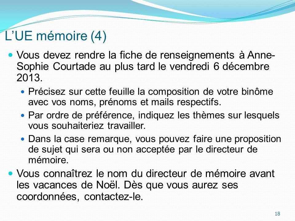 LUE mémoire (4) Vous devez rendre la fiche de renseignements à Anne- Sophie Courtade au plus tard le vendredi 6 décembre 2013. Précisez sur cette feui