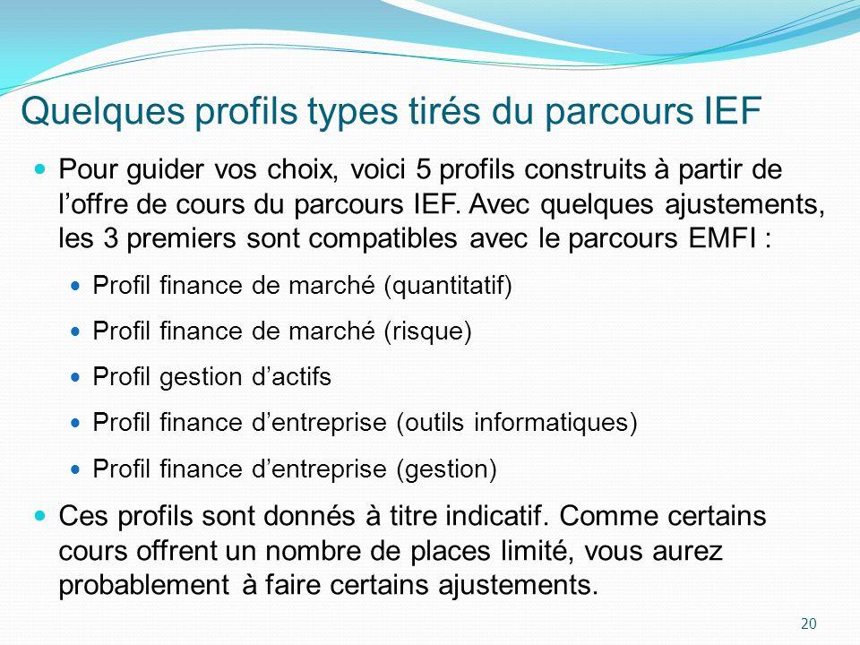 Quelques profils types tirés du parcours IEF Pour guider vos choix, voici 5 profils construits à partir de loffre de cours du parcours IEF. Avec quelq