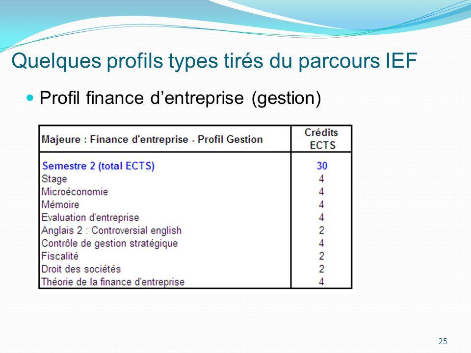 Quelques profils types tirés du parcours IEF 25 Profil finance dentreprise (gestion)