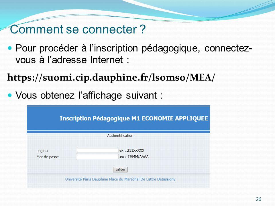 Comment se connecter ? Pour procéder à linscription pédagogique, connectez- vous à ladresse Internet : https://suomi.cip.dauphine.fr/lsomso/MEA/ Vous