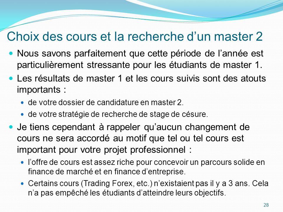 Choix des cours et la recherche dun master 2 Nous savons parfaitement que cette période de lannée est particulièrement stressante pour les étudiants d