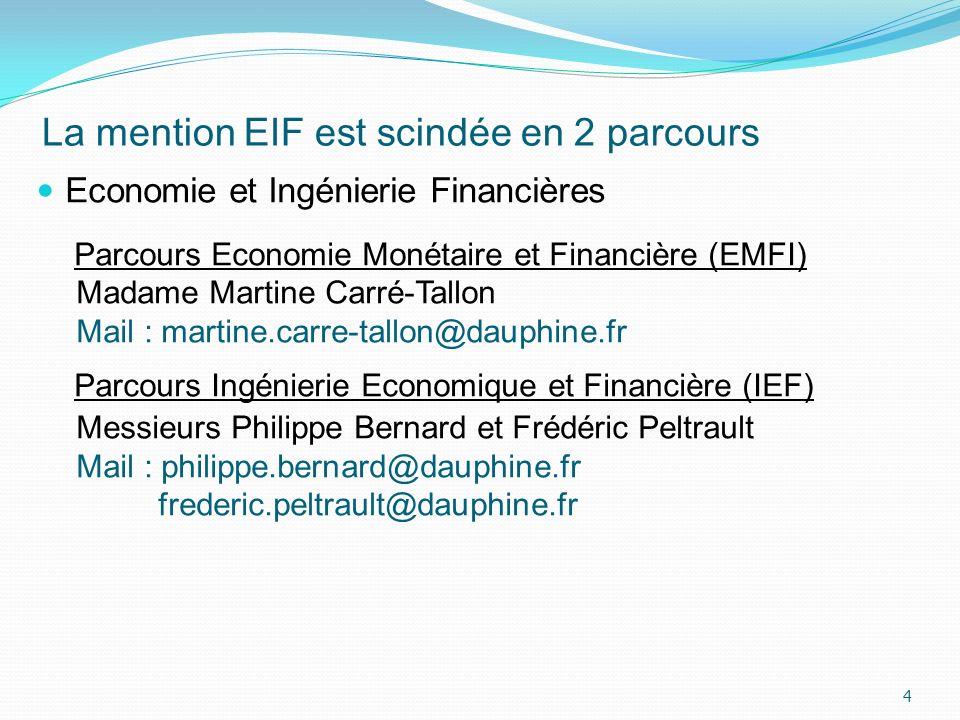 La mention EIF est scindée en 2 parcours Economie et Ingénierie Financières Parcours Economie Monétaire et Financière (EMFI) Madame Martine Carré-Tall