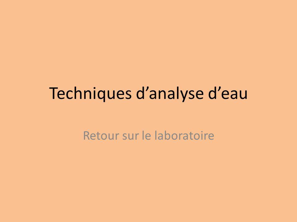 Techniques danalyse deau Retour sur le laboratoire
