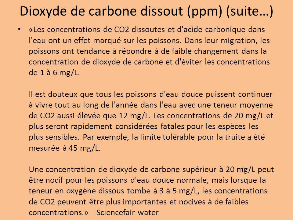 Dioxyde de carbone dissout (ppm) (suite…) «Les concentrations de CO2 dissoutes et d'acide carbonique dans l'eau ont un effet marqué sur les poissons.