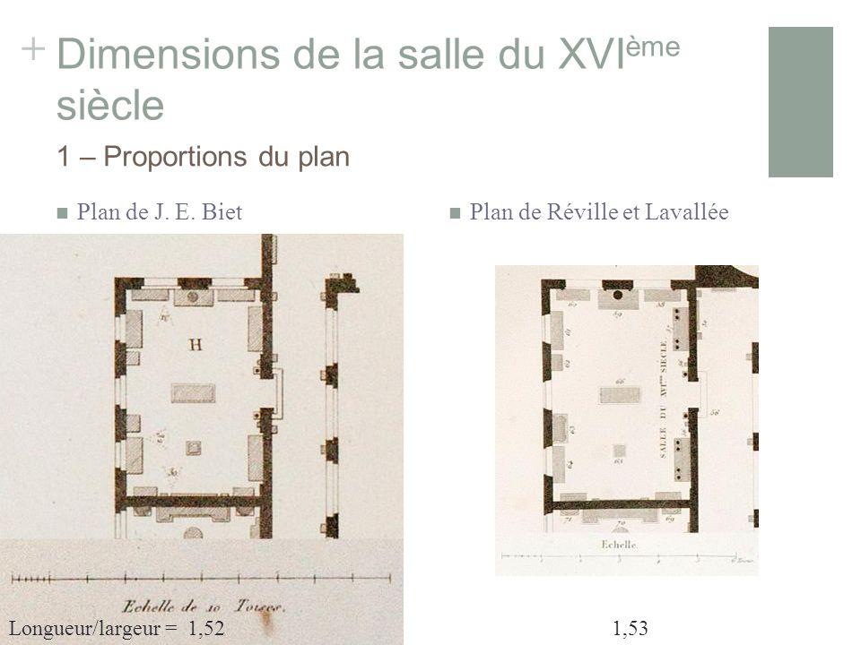 + Dimensions de la salle du XVI ème siècle Plan de J.