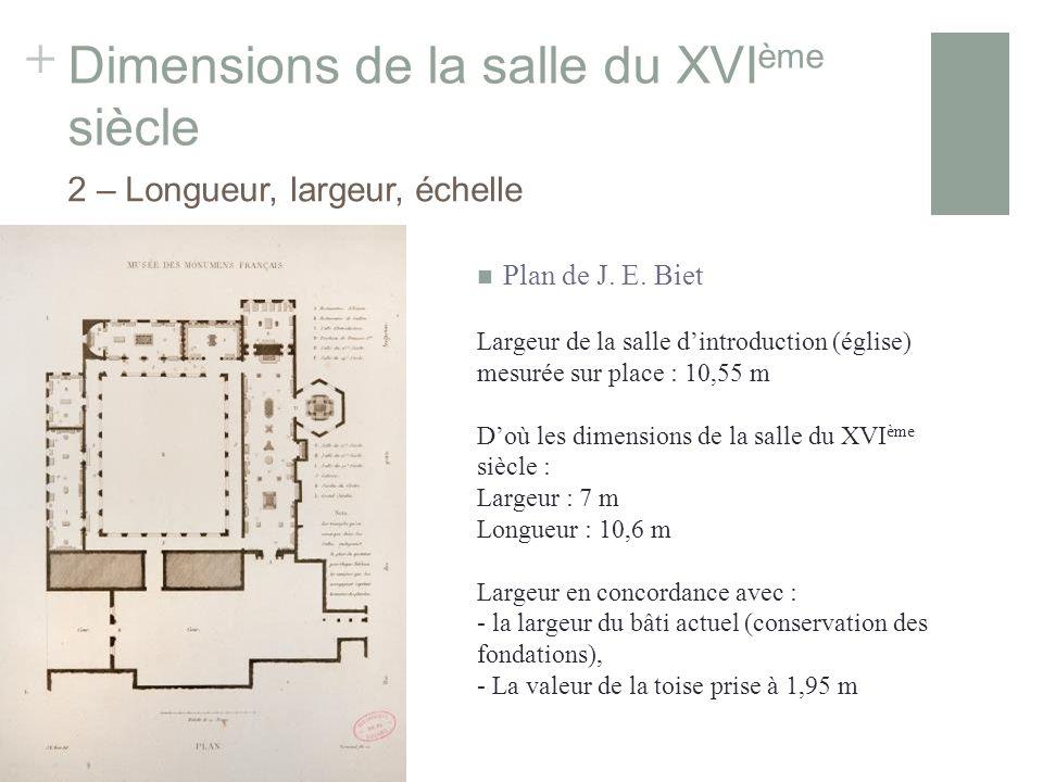 + Dimensions de la salle du XVI ème siècle Largeur de la salle dintroduction (église) mesurée sur place : 10,55 m Doù les dimensions de la salle du XVI ème siècle : Largeur : 7 m Longueur : 10,6 m Largeur en concordance avec : - la largeur du bâti actuel (conservation des fondations), - La valeur de la toise prise à 1,95 m 2 – Longueur, largeur, échelle Plan de J.