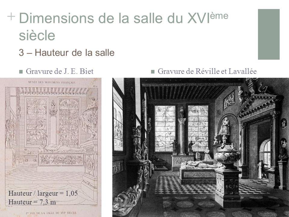 + Dimensions de la salle du XVI ème siècle Gravure de J.